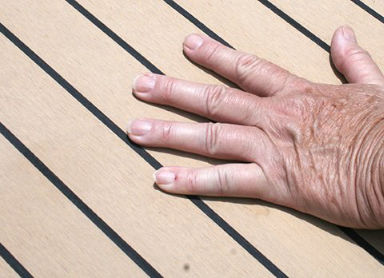 hand on cool flexiteek decking